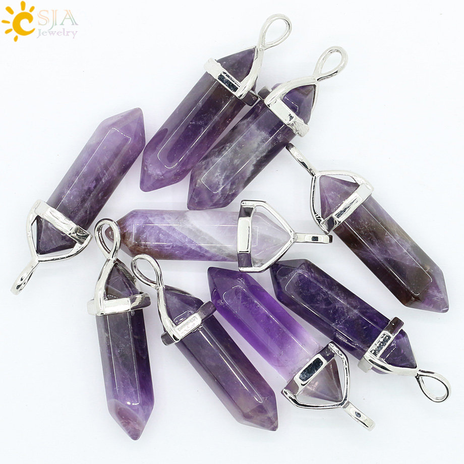 CSJA Real Raw Gem Pink Purple Crystal Hexagonal Bullet Reiki Point Chakra Natural Stone Pendant 2016 Necklace Women Jewelry E056 3