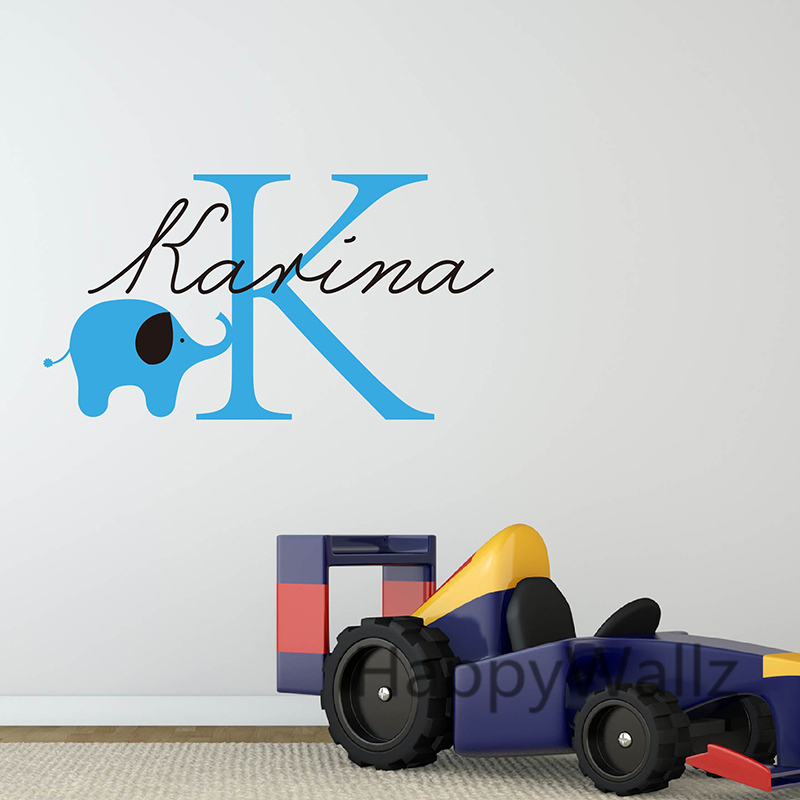 Baby Nursery Custom Name Elephant Wall Sticker DIY Nursery Name Wall Decal Kids Room Children Name Wall Decors C23