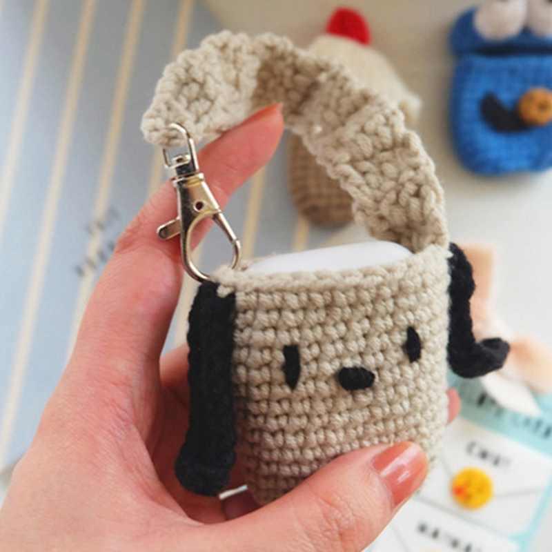 새로운 수제 귀여운 만화 스웨터 커버 anti-slip 뜨개질 양모 케이스 airpods airpod 고품질