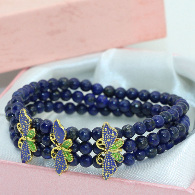Fashion exquisite cloisonne spacers natural blue lapis lazuli 4mm round beads 3 rows multilayer elastic bracelets jewelry B2777