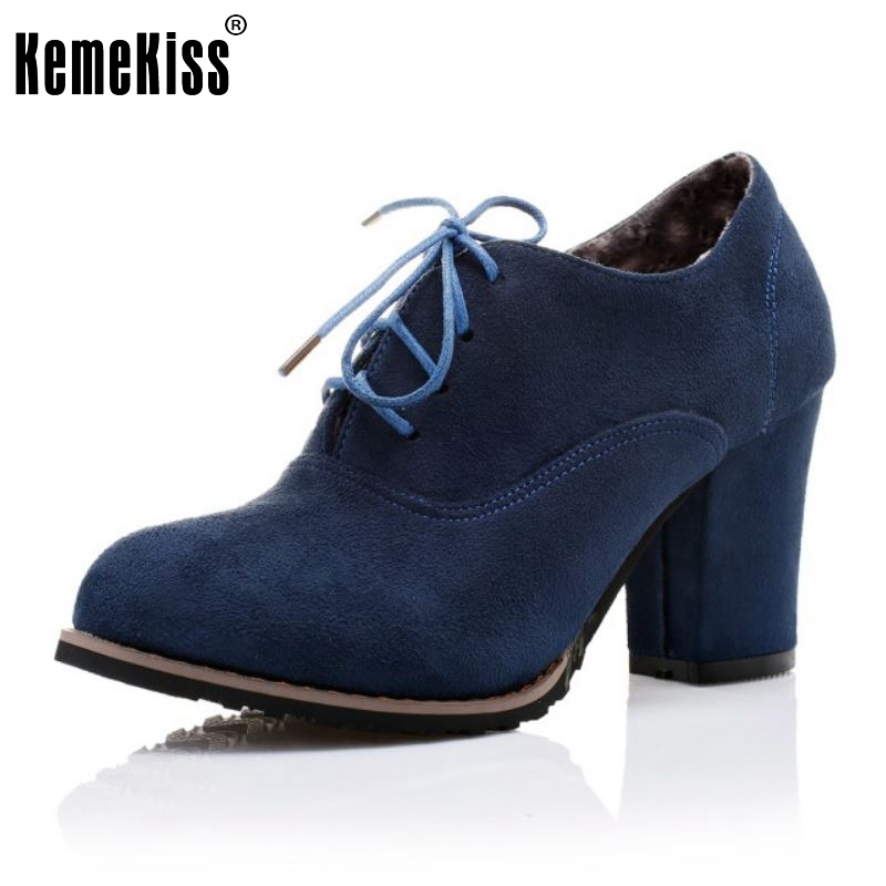 Spring Autumn Vintage Women Boots Platforms High Square Heel Boots Fashion Lace-up Ankle Solid Women Shoes Size 32-43 casio amw 710 1a