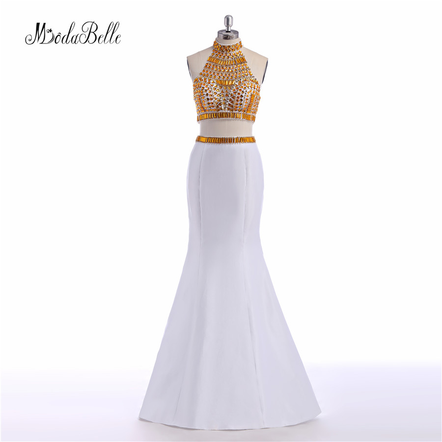 Modabelle High Neck White And Gold   Prom     Dresses   With Crystal 2 Pieces Mermaid Long   Dress     Prom   2017 Beaded Sleeveless Party   Dress