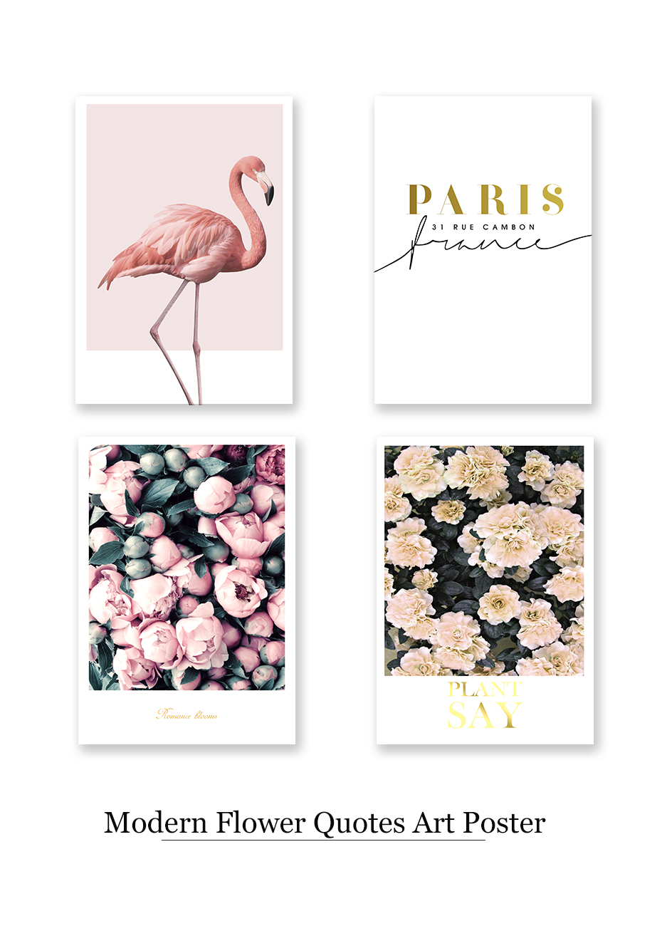Modern Flowers Canvas Painting On The Wall Romantic Blooms Posters Prints Pink Flamingo Decorative Pictures For Living Room Home (5)