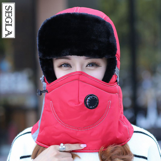 SEGLA Zipper Breathable Bomber Hats Scarf Two Pieces Set Russian Ushanka Ear Flaps Men Winter Windproof Cycle Skiing Trapper Cap