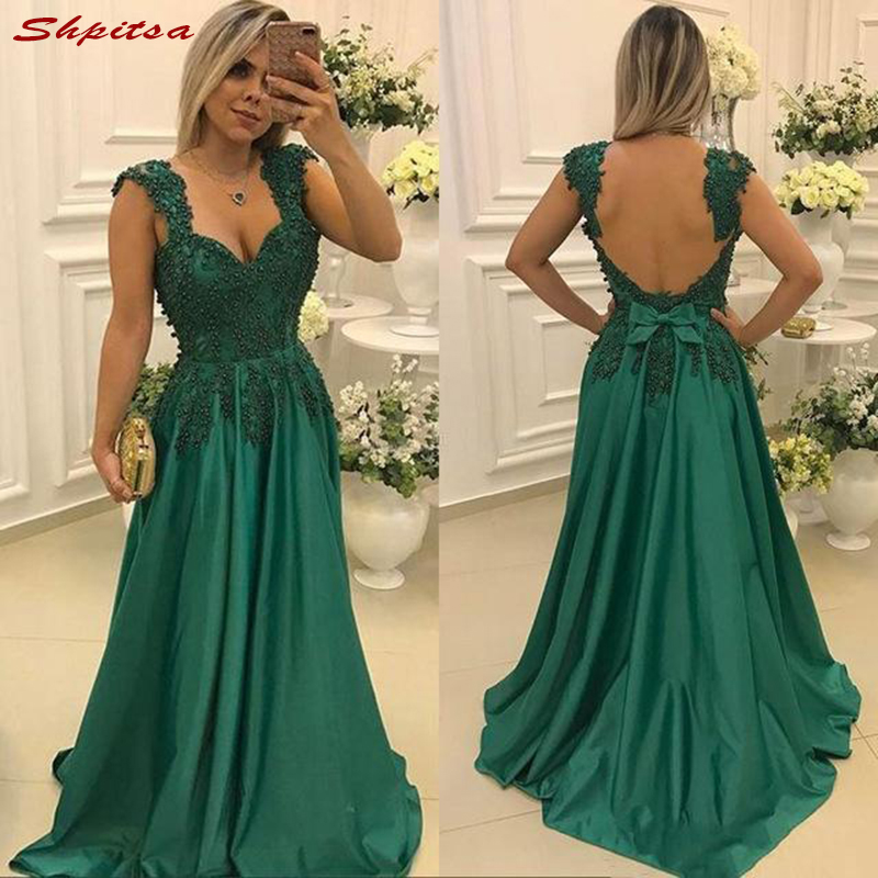 Green Mother of the Bride Dresses for Weddings Lace Beaded Spaghetti Straps Evening Prom Groom Godmother