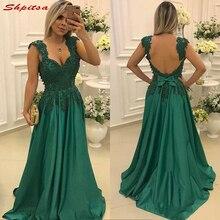 9f00b475d Madre verde de la novia vestidos para bodas encaje con cuentas correas  espaguetis noche de baile novio madrina vestidos