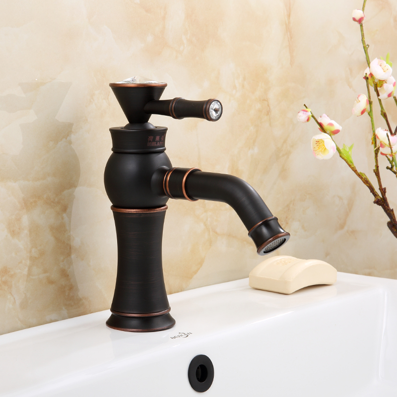 European Antique Basin Faucet Brass Brushed Black Faucet for Kitchen Crystal Single Handle Hole Deck Mounted Mixer Water Taps antique crystal kitchen faucet solid brass brushed basin facuets swivel single handle hole sink mixer water taps deck mounted