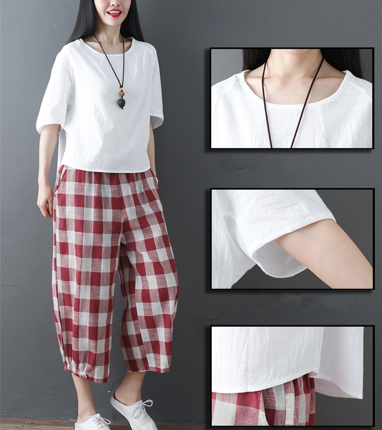 2019 Cotton Linen Two Piece Sets Women Plus Size Half Sleeve Tops And Wide Leg Cropped Pants Casual Vintage Women's Sets Suits 48