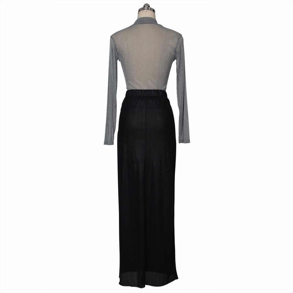 2019 nova moda sexy perspectiva two-piece blusa Prata + preto fenda alta vestido boate conjunto Suburbano terno elástico sexy terno