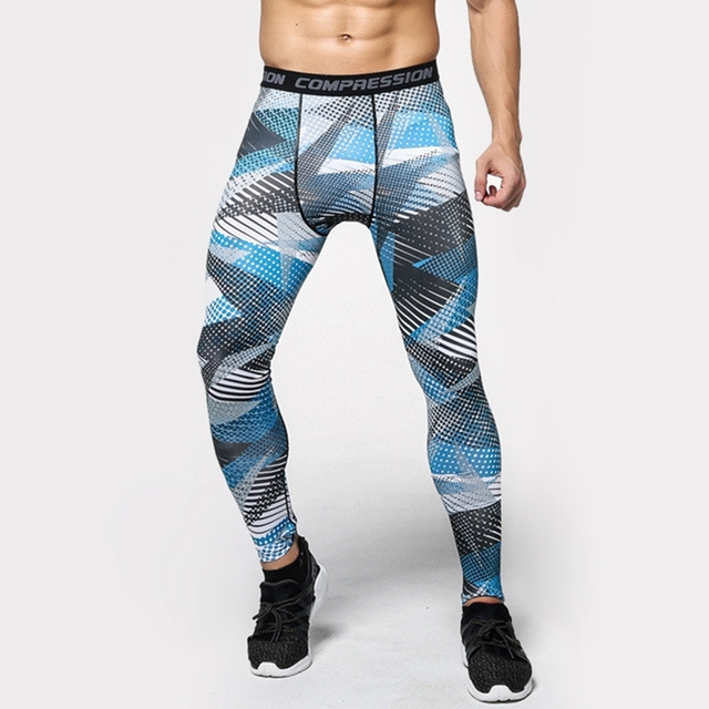 4dfe19ea024c5 Mens Compression Pants Crossfit Tights Men Bodybuilding Pants Trousers  Camouflage Geometric shape Joggers running fitting Yoga