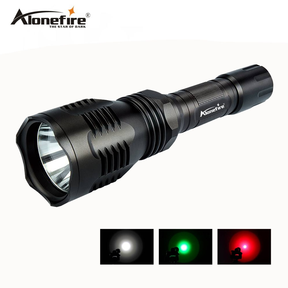 AloneFire HS-802 Hunting LED Flashlight Green Red Light Lighting Torch Dual mode Remote Pressure Switch+Gun mount