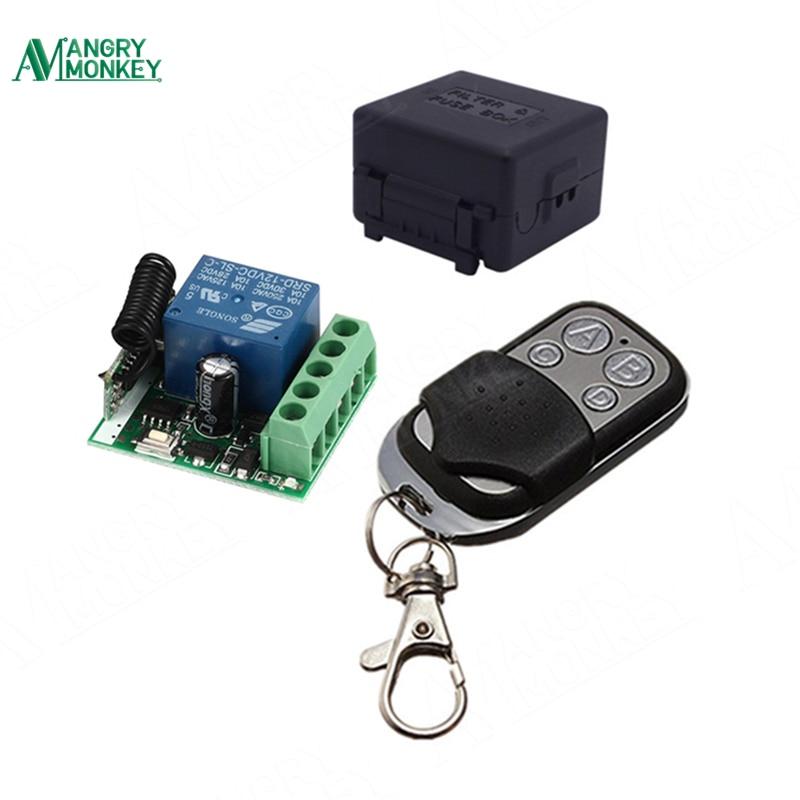 433 mhz Universal Wireless Fernbedienung Schalter DC 12 v 10A 1CH relais Empfänger Modul und RF Sender 433 mhz fernbedienungen