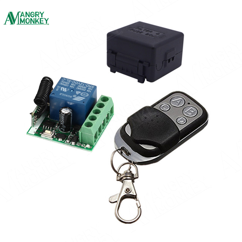 433Mhz Universal Wireless Remote Control Switch DC 12V 10A 1CH relay Receiver Module and RF Transmitter 433 Mhz Remote Controls dc 12v rf wireless switch remote control switch 10a 1ch receiver mini relay wall transmitter for light motor gate 315 433mhz