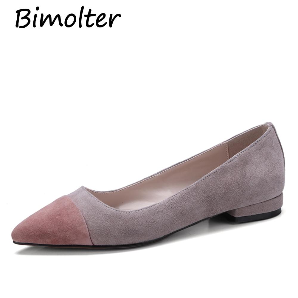 Bimolter Divat Márka Női Cipő Kényelmes Round Toe bőr Lakások - Női cipő