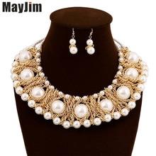Nuevas Mujeres 2017 Collares Declaración Cadenas de oro Noble Corto femenino de Múltiples Capas de Perla Grande Collar y Colgante de Joyería Accesorios