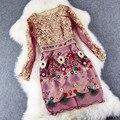 Женщины цветок Dress 2016 new Высокого качества Весна Лето мода одежда Тонкий вышивать Party dress XL 3XL Роскошь Старинные платья