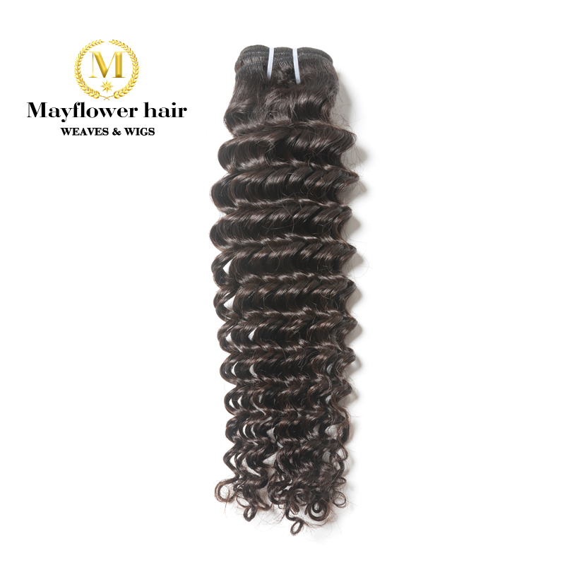 "Mayflower 1/2/3/4 Bundles 100% Unprocessed Virgin Malaysian Hair Deep Wave Natural Color Full Cuticle Hair Weft 12-26"" M Density"