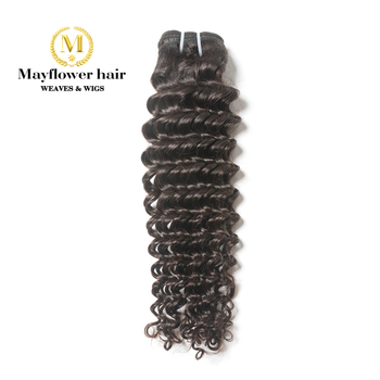 "Mayflower 1/2/3/4 bundles 100% Unprocessed Virgin Malaysian hair Deep wave natural color Full cuticle hair weft 12-26"" M Density"