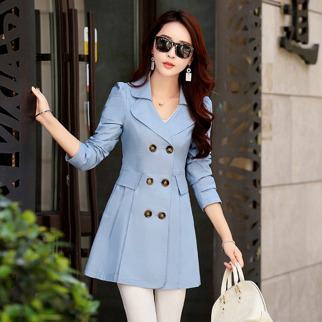FTLZZ New Women's Trench Coat Spring Autumn Black Green Slim Double Breasted Windbreaker Outerwear Female Casual Trench Coat 1