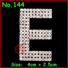 3pcs/Lot English alphabet E motif hot fix rhinestone,new pettern rhinestone applique,heat transfer design iron on motifs patches