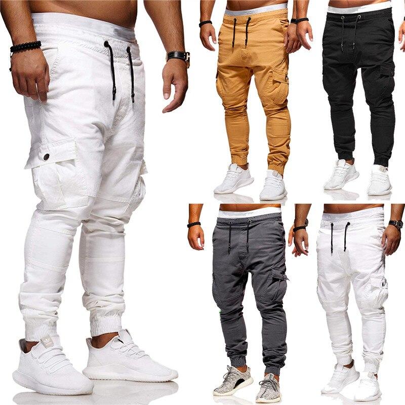 HuLooXuJi Men Long Pants Hip Hop Haren Joggers Pants New Male Trousers Solid Color Multi-pocket Pencil Sweatpants US Size:M-3XL
