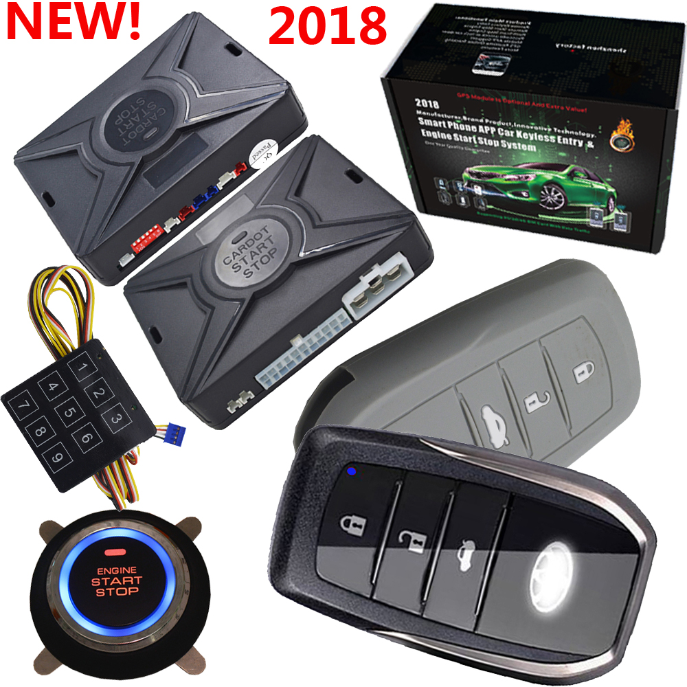 car alarm keyless entry central door lock system with alarm security protection auto ignition start stop button passwords entry smart car security alarm system ignition start stop button auto keyless entry car door central lock remote engine start stop