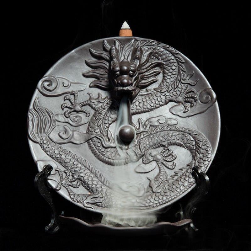 Home Decor creative ceramic dragon Hanging plate Smoke Backflow Incense BurnerHome Decor creative ceramic dragon Hanging plate Smoke Backflow Incense Burner