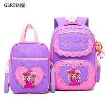 2pcs /Sets Children School Bags Cute Fashion Princess Pearl Reflective Strip Backpack Girl Satchel Bag Waterproof Schoolbag(China)