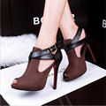 Spring Summer Women Pumps Fashion New Belt Buckle Open Toe Sandal High Heels Shoes Heeled Nightclub Sexy Female Shoes