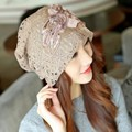 Autumn and winter Female Hollow out Maternal Hat Chemotherapy Cap double flower Lace Cap Art deco cap