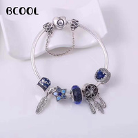 925 Sterling Silver Original Copy 1:1 Fashionable Silver Charms Bracelet Bangle For Women's Crystal Beads Fit Bracelets Jewelry