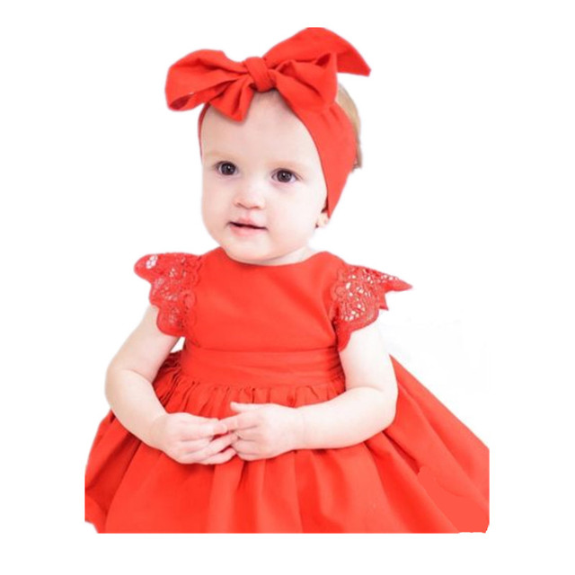 2019 Christmas Ruffle Red Lace Romper Dress Baby Girls Jumpsuit Princess Kids Xmas Sister Party Dresses Cotton Newborn Clothing