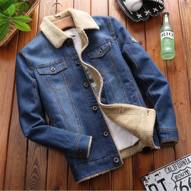 M 4XL 남성 자켓 및 코트 브랜드 의류 데님 자켓 패션 남성 청바지 자켓 두꺼운 따뜻한 겨울 아웃웨어 남성 카우보이-에서재킷부터 남성 의류 의  그룹 1