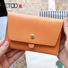 AETOO Tanning cowhide Passport pack leather travel hand bag Thin card color Document Clip Wallet
