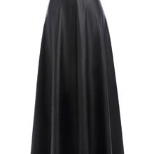 Faldas negras de otoño para mujer vintage alta cintura delgada larga maxi  falda de cuero lolita 32f8ce88a70c
