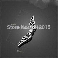 50 шт. старинное серебро подвеска в форме ангельских крыльев Распорки бусины для ювелирных изделий 30,6X7,7 мм YZ-13768X