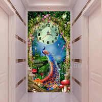 Ingresso Soggiorno Decor Forest Dream Blu Pavone Diamante Pittura, mosaico Pavone Clock Coperto Con Pieno Trapano Piazza