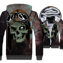 New Style 2019 Winter Warm Jackets Men Skull Print Hip Hop 3D Hoodies Casual Thick Gothic Mens Coat Long Sleeve Sweatshirt