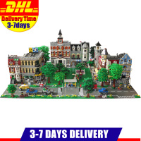 DHL LEPIN City Street Town Cafe Corner Fire Brigade Grand Emporium Green Grocer 15035 15034 15031 Blocks Building Kits Bricks