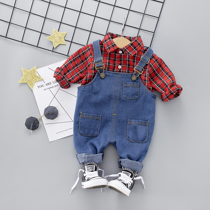 Toddler Boys Girl Clothing Sets Plaid Shirt + Bib Jeans Suit For Baby Spring Fall Cotton Girls Infant Clothing 1 2 3 4 Years