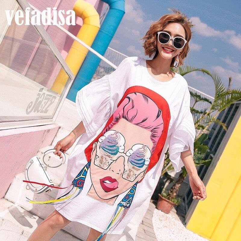 Vefadisa Princess tシャツドレス白黒 夏の女性の漫画スパンコールドレス印刷非対称ドレスゆるいカジュアルなタッセル不規則な