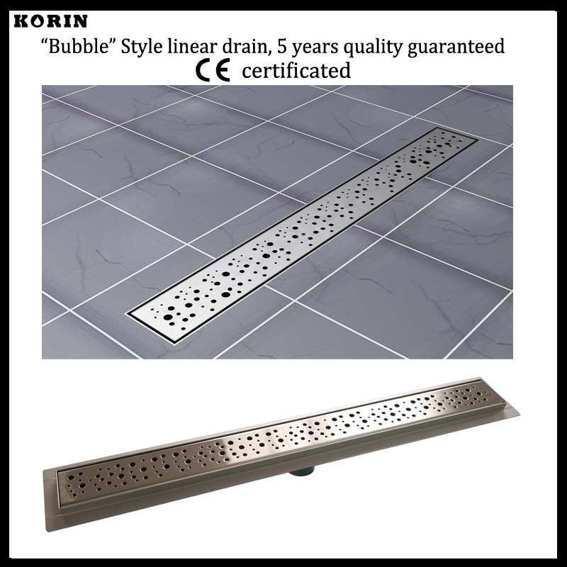 1000mm Bubble Style Stainless Steel 304 Linear Shower Drain, Vertical Shower Drain with flange, Floor Waste, bathroom drain 800mm slim style stainless steel 304 linear shower drain vertical shower drain with flange shower channel
