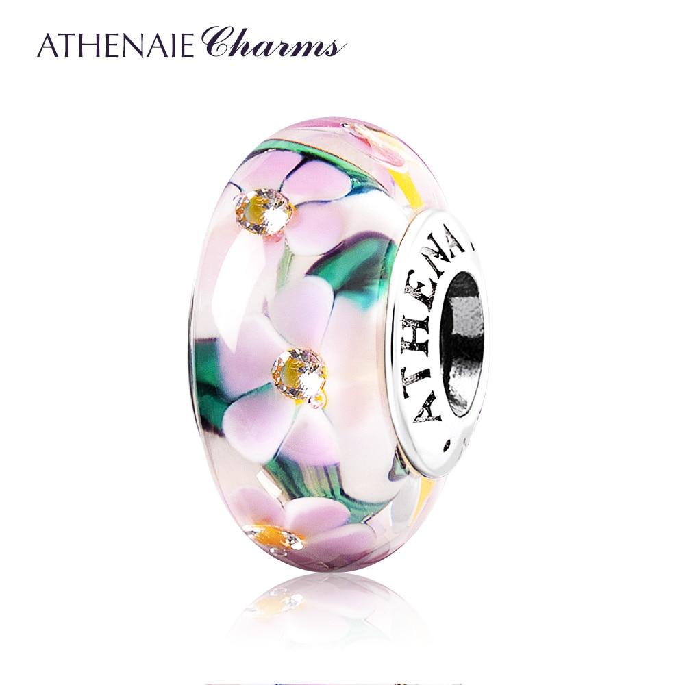 ATHENAIE Genuine Murano Glass 925 Silver Core Flower Garden Charms Bead Fit European Bracelets Necklace For Women DIY Jewelry