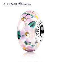 ATHENAIE ของแท้ Murano แก้ว 925 เงิน Core สวนดอกไม้ Charms Bead Fit สร้อยข้อมือยุโรปสร้อยคอผู้หญิงเครื่องประดับ DIY
