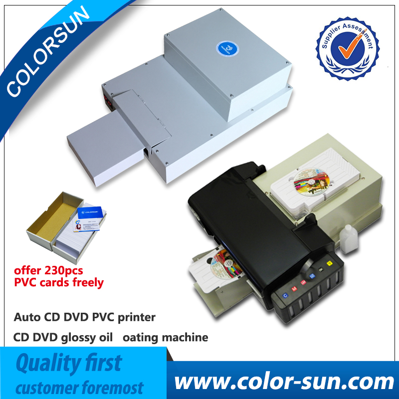 Big promotion combo 1 set auto CD DVD PVC printer with 1 set glossy oil coating machine for sale 2017 advanced cd uv coating coater dvd disc lamination machine with top quality maquina de laminacion de dvd