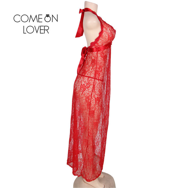 RI80337 Comeonlover Pluse Size Red Backless Halter Exotic Dress New Sheer Floral Lace Long Robe Hollow Out Slit Long Night Gown 4