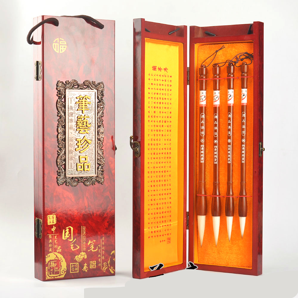 Luxury 4pcs Chinese Traditional Calligraphy Pen Brush High Quality Large Middle Small Regular Script Writing Brushes high quality chinese traditional calligraphy set scholar s four jewels regular script calligraphy writing brushes set
