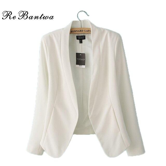 Rebantwa New Fashion Women Blazer Short Autumn Open Stitch Suit Blazer Feminino Slim Women Blazers And Jackets2106 White Outwear