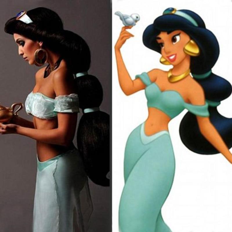 Cartoon Anime Jasmine Princess Long Braid Styled Slicked Back High Temperature Fiber Synthetic Hair Cosplay Costume Wigs + Cap