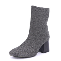 Pointed Toe Women Boots Stretch 2016 Spring And Autumn Sequins Boots For Women Thick Heel 6
